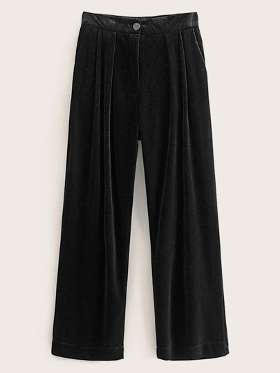 Button Front Straight Leg Velvet Pants