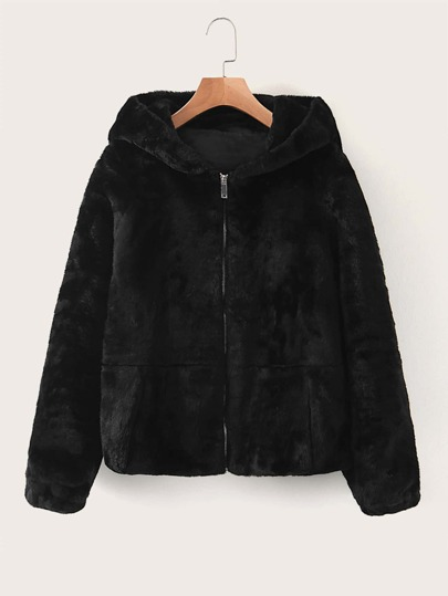 Zip Up Hooded Faux Fur Coat