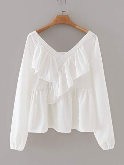 V-neck Ruffle Trim Solid Blouse
