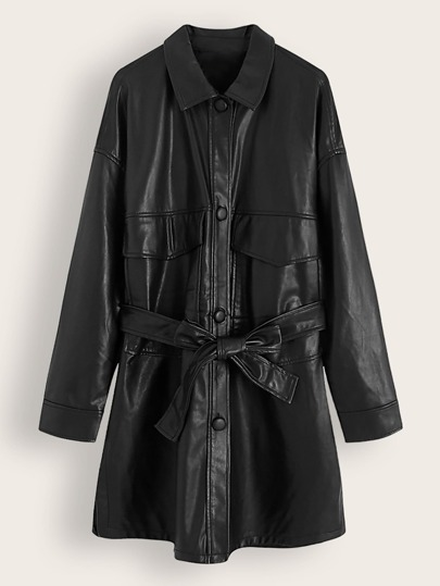 Button Through Pocket Belted PU Leather Coat