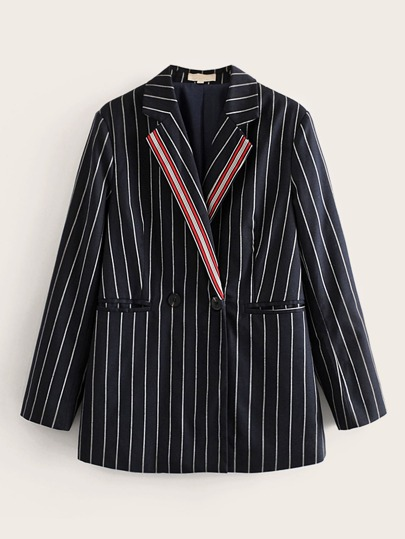 Button Front Double Pocket Striped Blazer