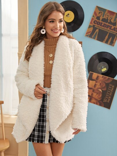 Solid Waterfall Collar Teddy Coat