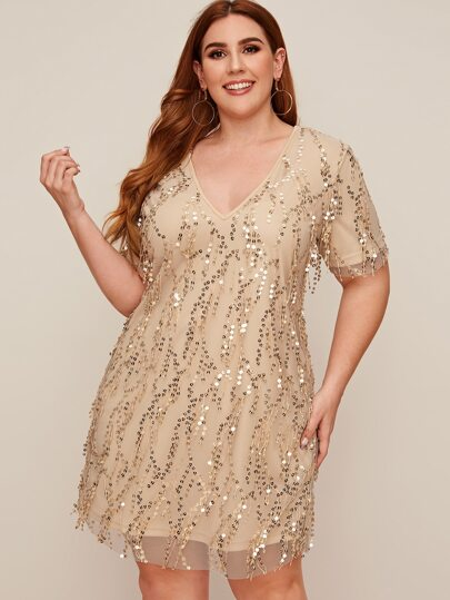 Plus Sequins Fringe Overlay Tunic Dress