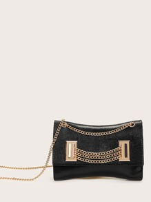 Snakeskin Embossed Chain Crossbody Bag