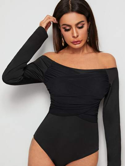 Off-shoulder Crossover Fitted Bodysuit