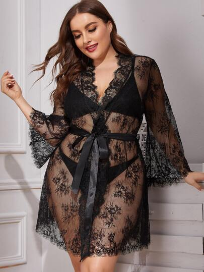 Plus Floral Lace Robe With Belt