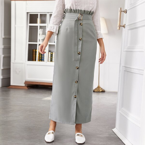 Single Breasted Front Paperbag Waist Belted Skirt, Grey