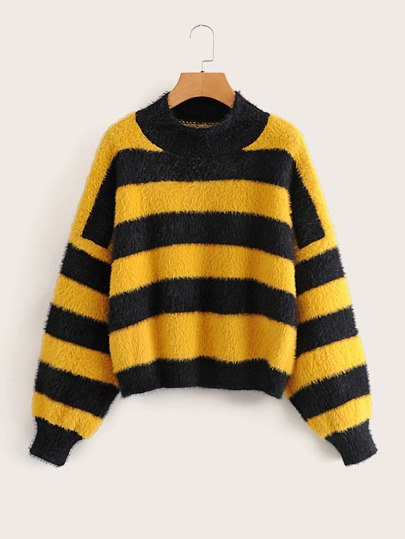 Striped Drop Shoulder Fuzzy Sweater