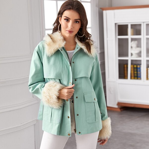 Contrast Faux Fur Trim Flap Pocket Belted Coat, Green pastel