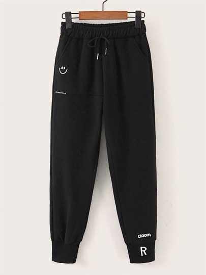 Letter Embroidery Drawstring Waist Sweatpants