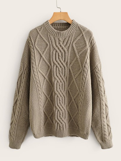 Cable Knit Drop Shoulder Jumper