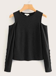Button Detail Cold Shoulder Solid Tee