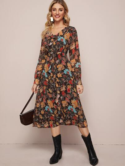 Floral Print Ruffle Trim Chiffon Dress