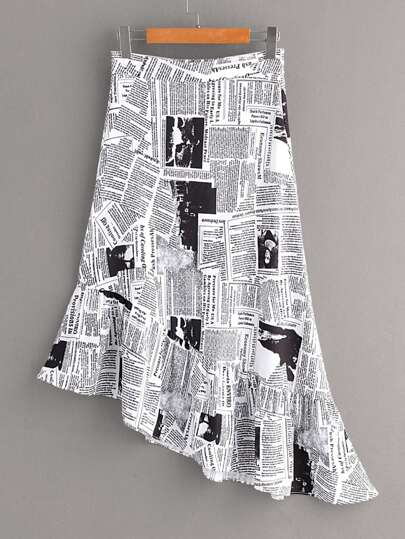 Newspaper Print Ruffle Hem Asymmetrical Skirt