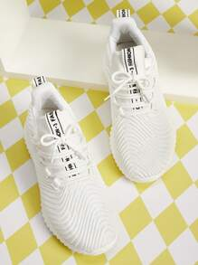 Letter Patch Decor Wide Fit Sneakers