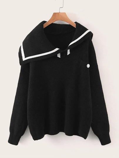 Sailor Collar Drop Shoulder Sweater