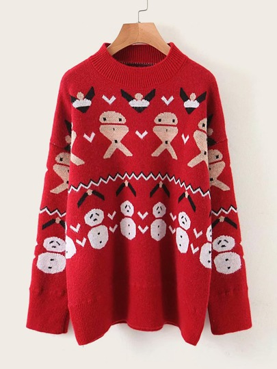 Christmas Print Drop Shoulder Sweater