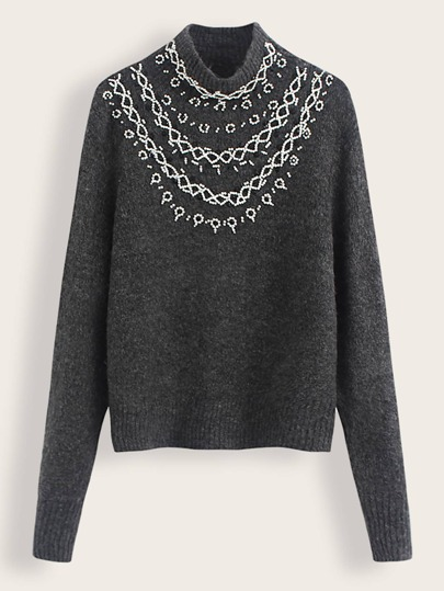 Mock Neck Beaded Detail Sweater