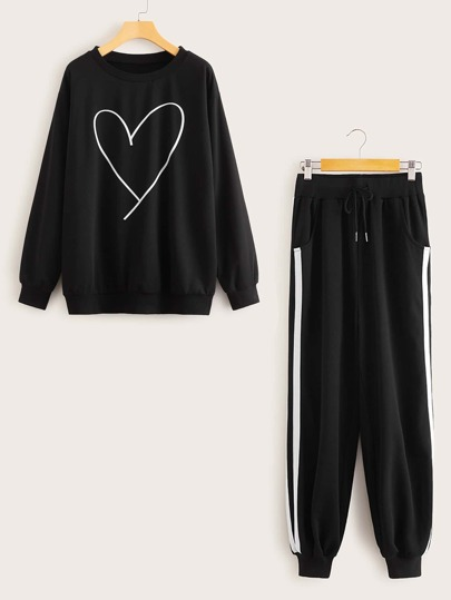 Heart Print Top & Drawstring Waist Sweatpants Set