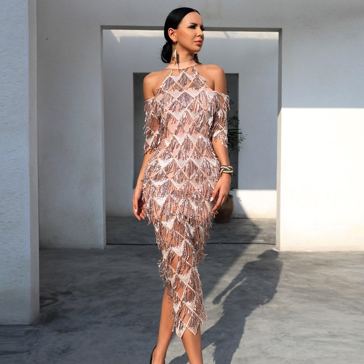 Halter Cold Shoulder Split Back Sequin Dress