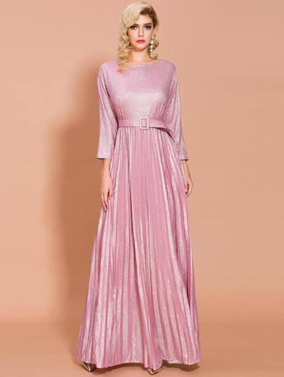 Missord Buckle Belted Pleated Glitter Maxi Prom Dress