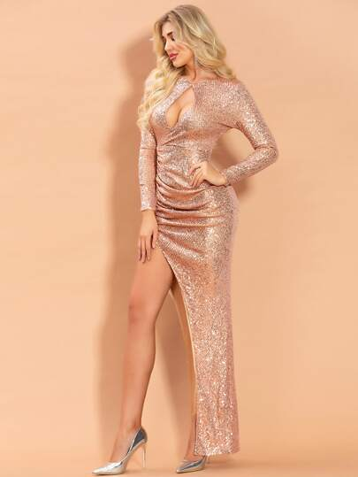 Missord Cut-out Split Thigh Sequin Prom Dress