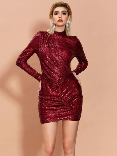 Missord Mock Neck Ruched Wrap Sequin Bodycon Dress