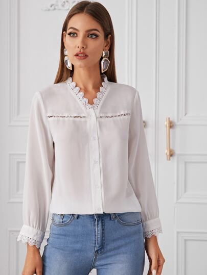 Button Through Contrast Lace Trim Blouse