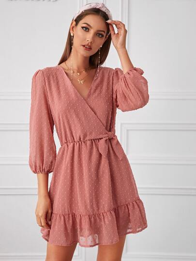 Swiss Dot Knot Side Ruffle Hem Dress