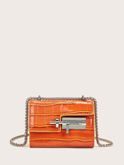 Mini Toggle Lock Croc Embossed Chain Bag