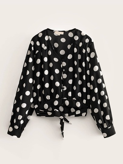 Button Front Polka Dot Knot Blouse