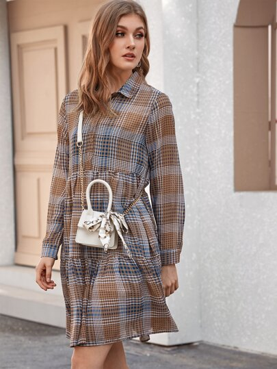 Plaid Ruffle Hem Shirt Dress