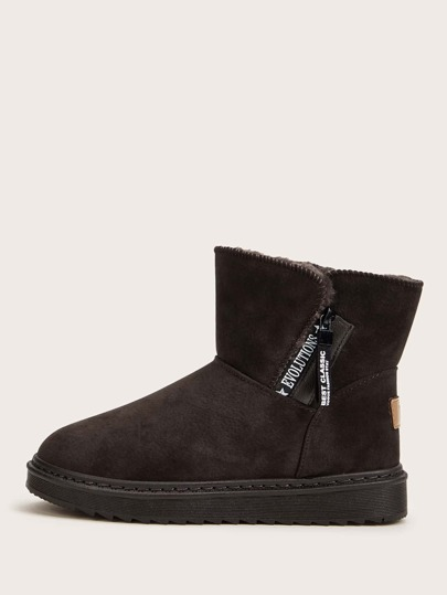 Side Zip Faux Fur Lined Suede Boots