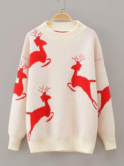 Deer Print Drop Shoulder Sweater