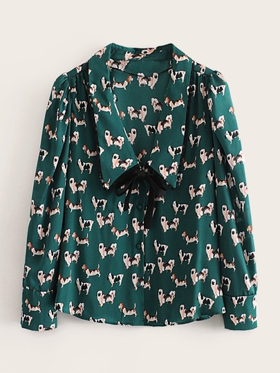 Dog Print Button Front Knot Blouse