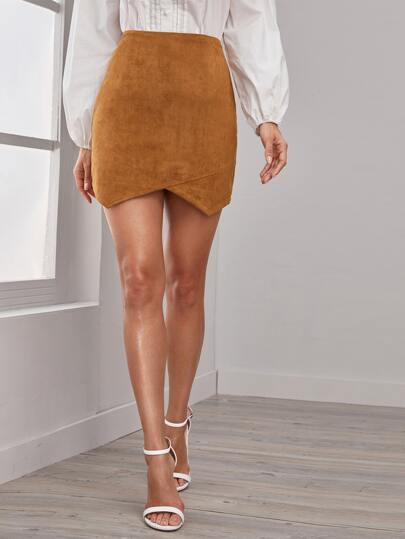 Asymmetrical Hem Suede Bodycon Skirt