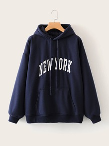 Letter Graphic Kangaroo Pocket Drawstring Hoodie