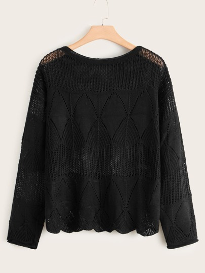 Plus Pointelle Knit Drop Shoulder Sweater