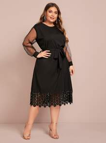 Plus Laser Cut Mesh Sleeve Belted Dress