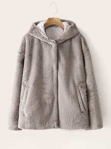 Slant Pocket Faux Fur Hooded Coat