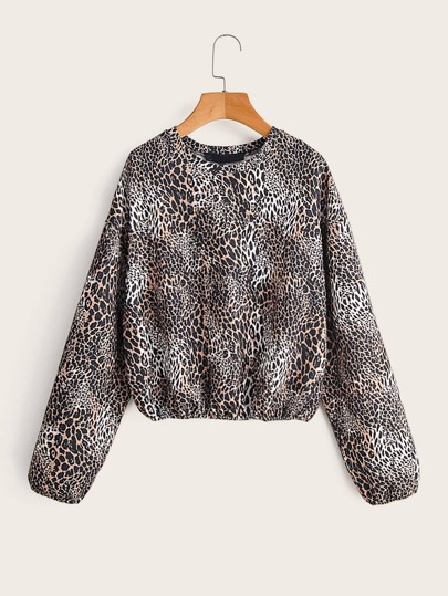 Leopard Print Drop Shoulder Sweatshirt