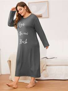 Plus Letter Graphic Night Dress