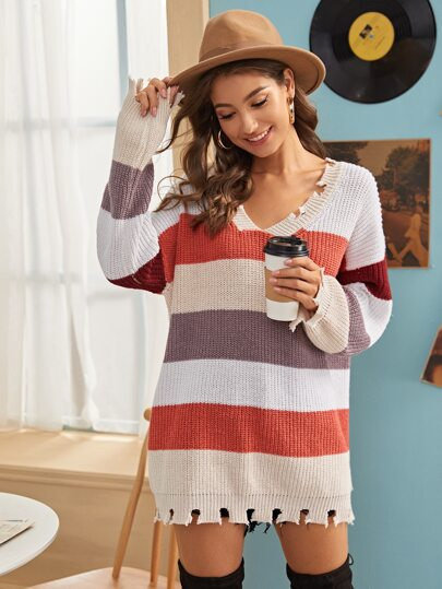 Color-Block Raw Hem Ribbed Knit Sweater