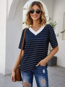 Striped V-neck Short Sleeve Tee