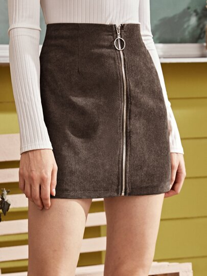 O-ring Zip Detail Corduroy Skirt