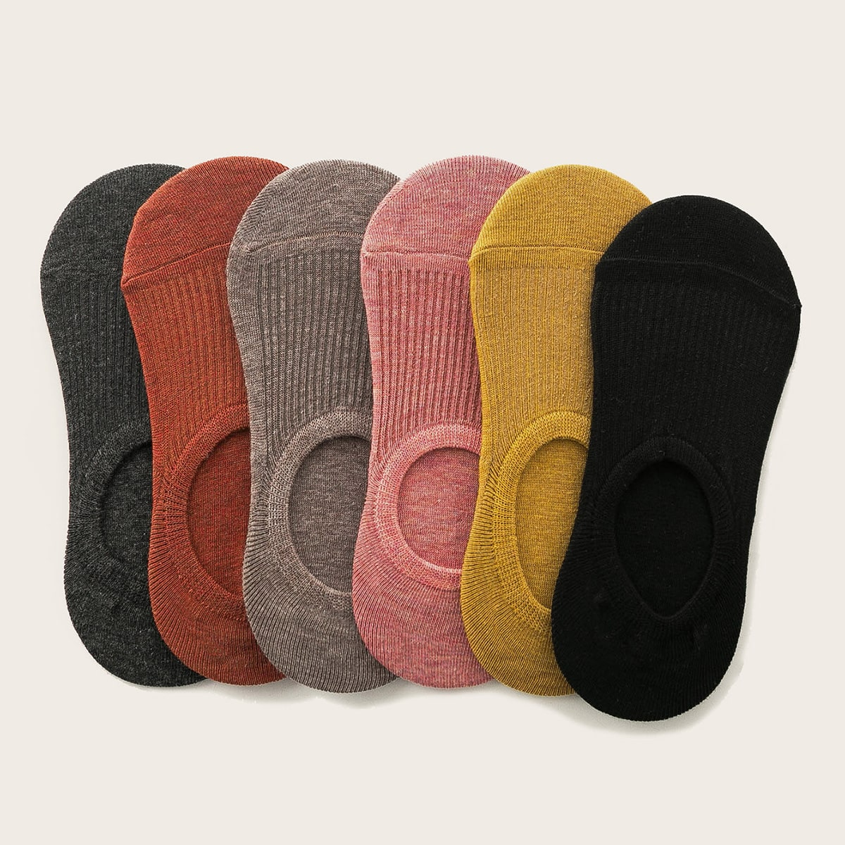 Multicolored No Show Socks - 6 Pairs