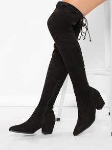 Pointy Toe Chunky Low Heel Thigh High Boots