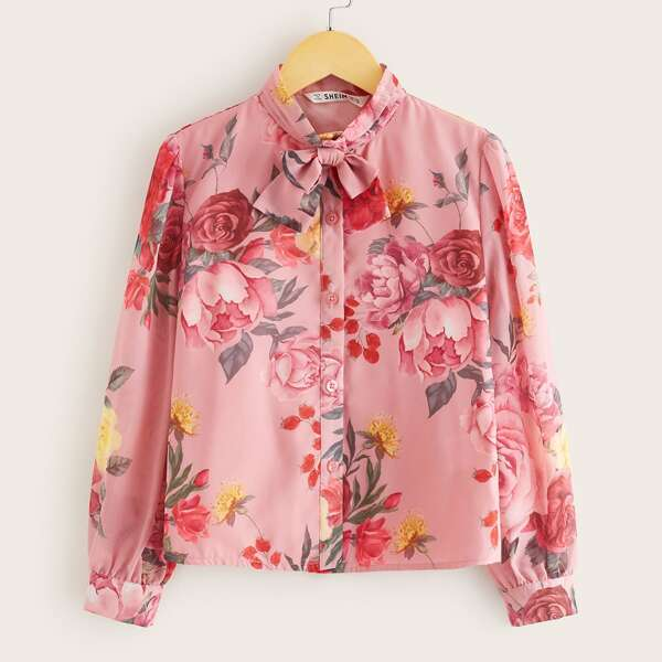 Girls Tie Neck Floral Print Blouse, Pink