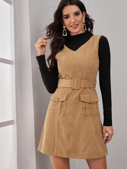 Corduroy Flap Pocket Belted Fitted Dress