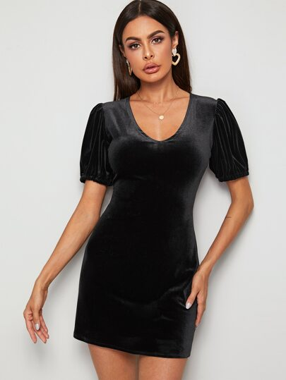 Cut Out Back Puff Sleeve Velvet Dress